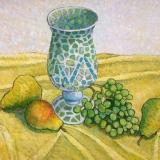 """Mosaic Vase with Pears and Grapes"" by Gainor Roberts"
