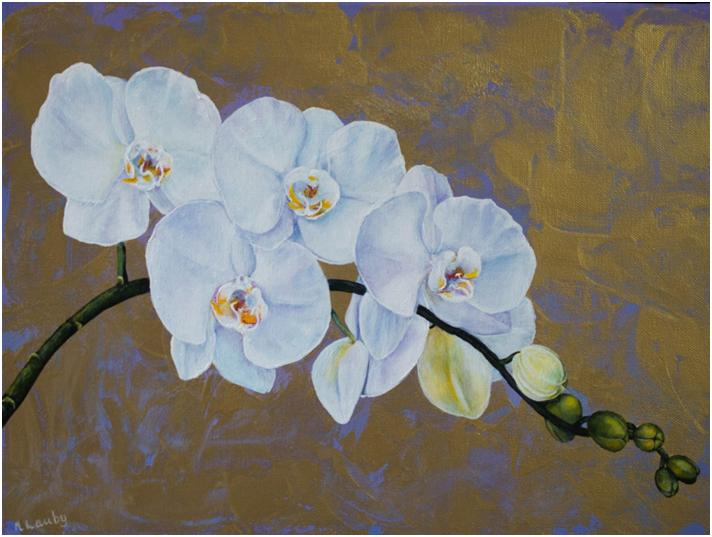 Orchids on Gold by Nancy Lauby