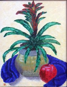 """Real Bromelaid with Fake Apple"" by Barb Lo Frisco,"