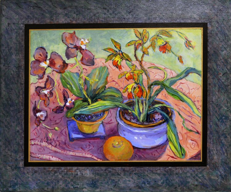 """Orchids on a Pink Cloth"" by Carole Flagg"