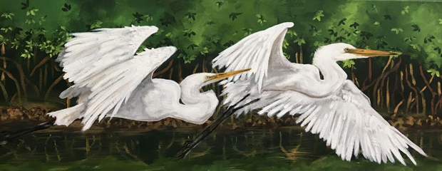 """""""2 Egrets"""" By Emily McNiel Levy"""