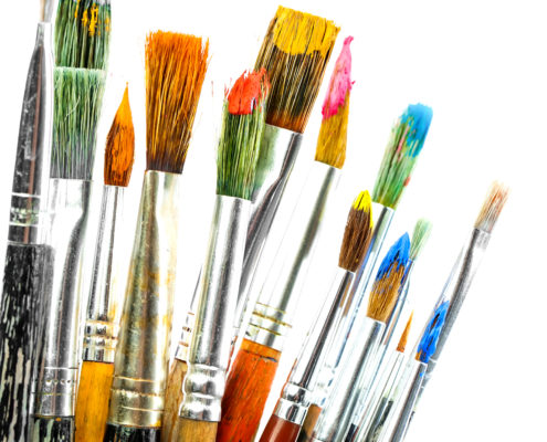 Colorful Paint Brushes - art class