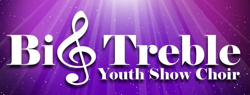 Big Treble Youth Show Choir logo - purple background
