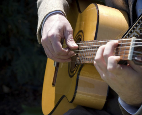 Acoustic guitar playing music