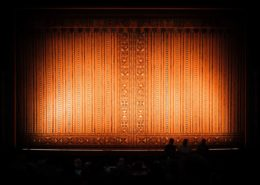 Theatre Stage Curtain with a Spotlight