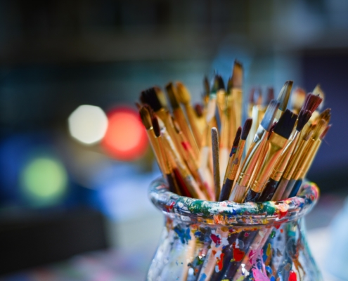 paint and brushes - painting class