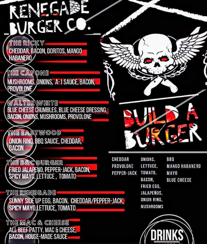 Renegade Burger Co. Menu
