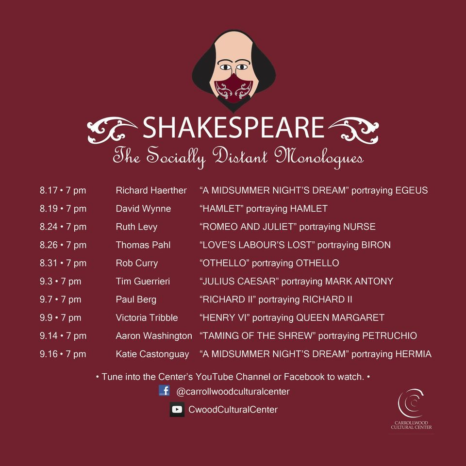 Shakespeare: The Socially Distant Monologues Schedule